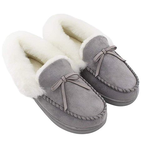 Amazon.com | HomeIdeas Women's Faux Fur Lined Suede Comfort House Slippers, Anti-Slip Winter Indoor / Outdoor Moccasin Shoes, Gray, 7-8 B(M) US | Slippers