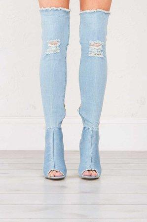 Over The Knee Denim Boots in Light Blue, Medium Blue and Dark Blue