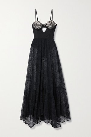 Cutout Embellished Corded Lace And Stretch-jersey Maxi Dress - Black