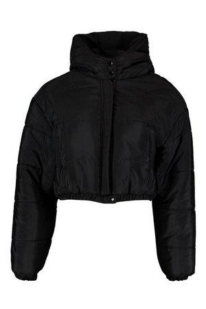 Crop Hooded Puffer Jacket | Boohoo