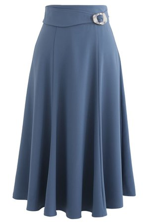 Marble Buckle Belted Flare Midi Skirt in Blue - Retro, Indie and Unique Fashion