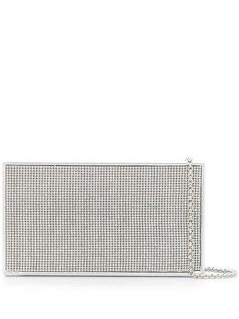 Silver Casadei slim crystal clutch bag - Farfetch