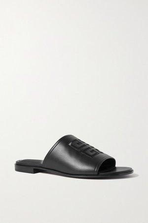 Logo-embossed Leather Sandals - Black
