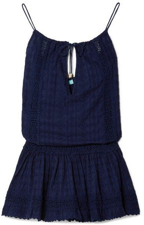 Chelsea Crochet-trimmed Embroidered Cotton-voile Mini Dress - Navy