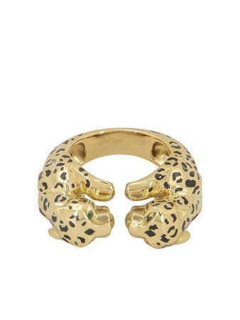 Shop Cartier pre-owned 18kt yellow gold enamel double Panthère ring with Express Delivery - Farfetch