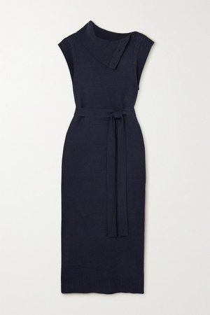 Belted Button-detailed Wool And Cashmere-blend Midi Dress - Navy
