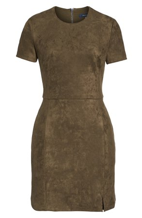 French Connection Short Sleeve Faux Suede Dress | Nordstrom