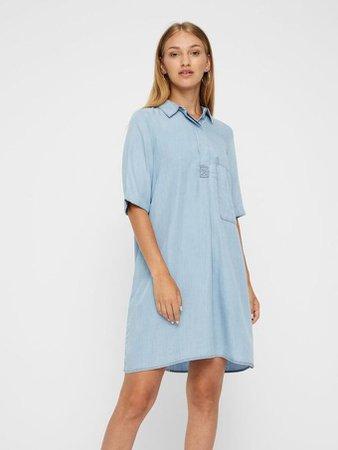 LOOSE LYOCELL DRESS | BLUE