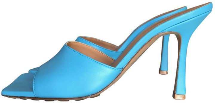 Stretch Blue Leather Sandals