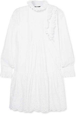 Ruffled Broderie Anglaise Cotton Mini Dress - White