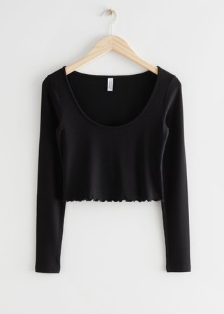 Fitted Lettuce Edge Rib Top - Black - Tops & T-shirts - & Other Stories