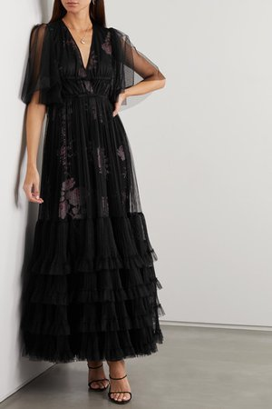 Giambattista Valli | Layered tiered tulle and silk gown | NET-A-PORTER.COM