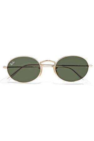 Ray-Ban | Oval-frame gold-tone sunglasses | NET-A-PORTER.COM
