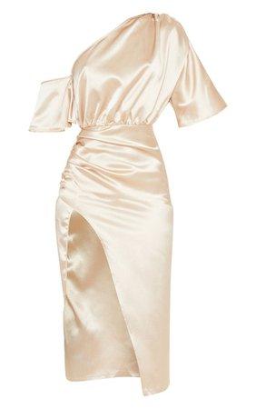 Rust Satin One Shoulder Ruched Skirt Midi Dress | PrettyLittleThing USA