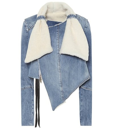 Shearling-trimmed denim jacket