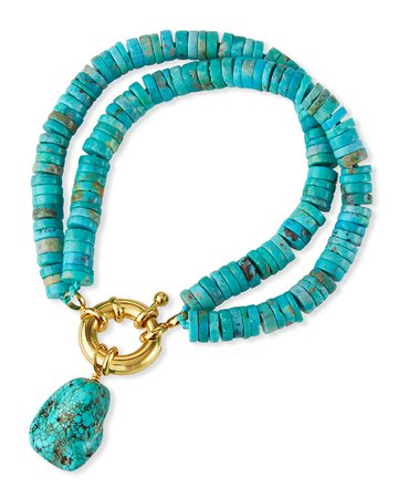 NEST Jewelry Turquoise Heishi Nugget Drop Bracelet