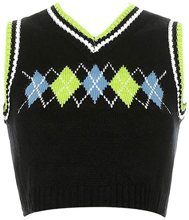 Women Argyle Plaid Knitted Sweater Vest Streetwear Preppy Style V Neck Crop Knitwear Tank Top (Dark Blue, M) at Amazon Women's Clothing store