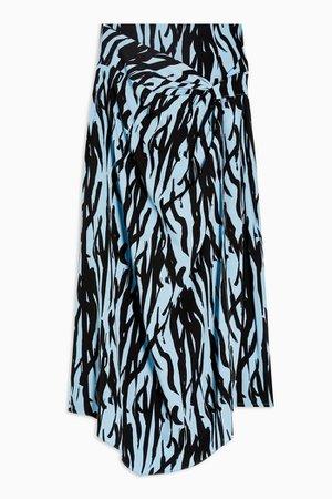 Blue Zebra Print Midi Skirt | Topshop