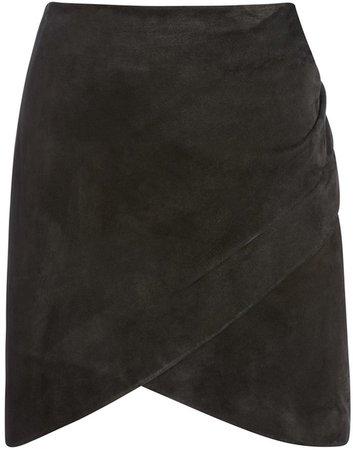 Fidela Suede Draped Mini Skirt