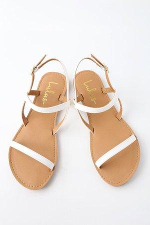 Cute Flat Sandals - White Sandals - Vegan Sandals