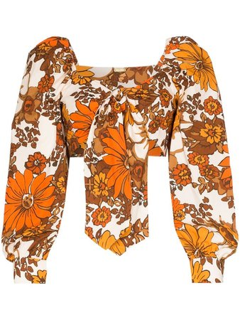 Dodo Bar Or Biby floral tie-front top
