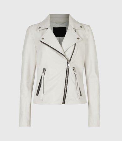 ALLSAINTS US: Womens Dalby Leather Biker Jacket (white)