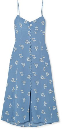Cybill Floral-print Georgette Midi Dress - Blue