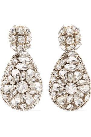 Oscar de la Renta | Silver-tone crystal clip earrings | NET-A-PORTER.COM