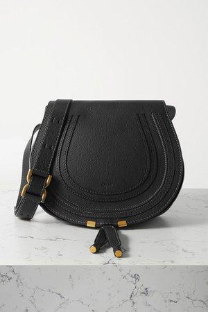 Marcie Medium Textured-leather Shoulder Bag - Black