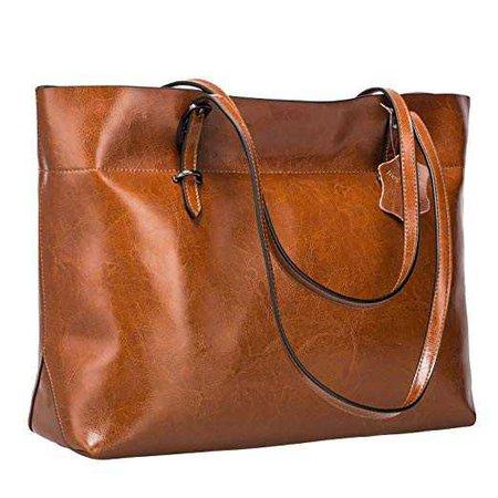 Amazon.com: S-ZONE Women's Vintage Genuine Leather Tote Shoulder Bag Handbag Upgraded Version (Dark Brown): Clothing