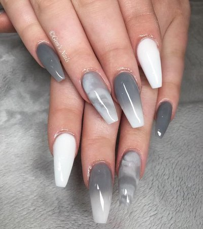 Grey & White Ombre Marble Nails