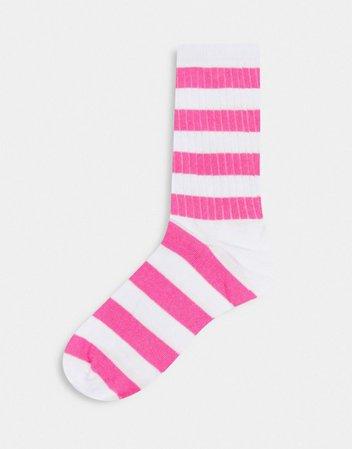 ASOS DESIGN stripe calf length socks in white and pink | ASOS