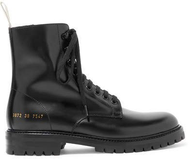 Combat Leather Ankle Boots - Black