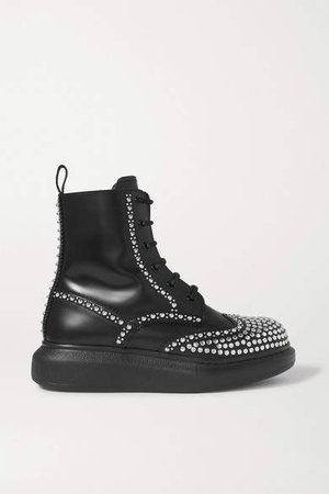 Studded Leather Exaggerated-sole Ankle Boots - Black