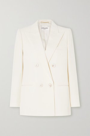 SAINT LAURENT | Double-breasted wool-twill blazer | NET-A-PORTER.COM
