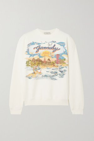 Printed Cotton-jersey Sweatshirt - White