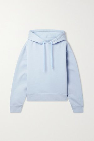 Printed Cotton-blend Jersey Hoodie - Sky blue