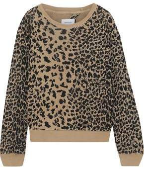 The Open Back Leopard-print French Cotton-terry Sweatshirt