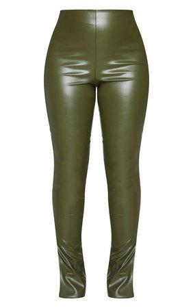 Khaki Faux Leather Split Hem Leggings   PrettyLittleThing