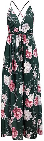 BerryGo Women's Sexy Deep V Neck Backless Floral Print Split Maxi Party Dress at Amazon Women's Clothing store