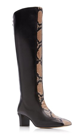 Ophelia Snake-Effect Leather Knee-High Boots By Aeyde | Moda Operandi