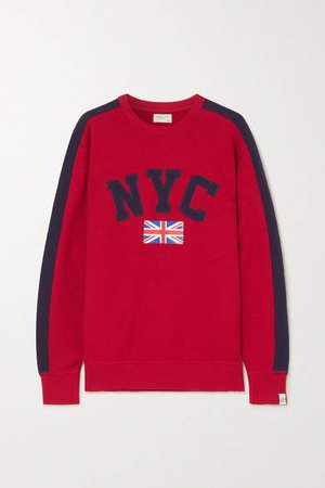 Striped Appliqued Printed Cotton-jersey Sweatshirt - Red