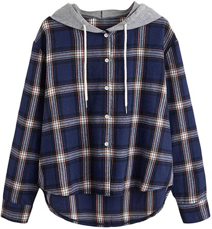 SweatyRocks Women's Casual Plaid Hoodie Shirt Long Sleeve Button-up Blouse Tops (Large, Navy) at Amazon Women's Clothing store
