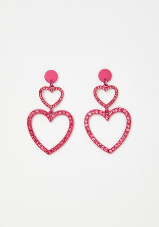 Rhinestone Heart Drop Earrings - Hot Pink | Dolls Kill