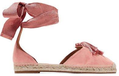 Love Tasseled Suede Espadrilles - Baby pink