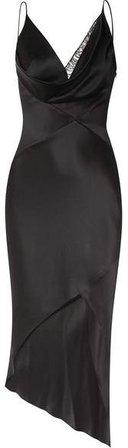 Cushnie - Asymmetric Lace-trimmed Silk-satin Wrap Midi Dress - Black