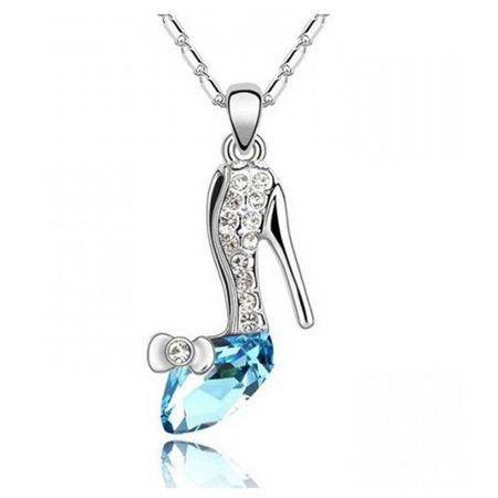 Blue Silver Crystal Cinderella Shoes Necklace Glass Slipper Princess Pendant New | eBay
