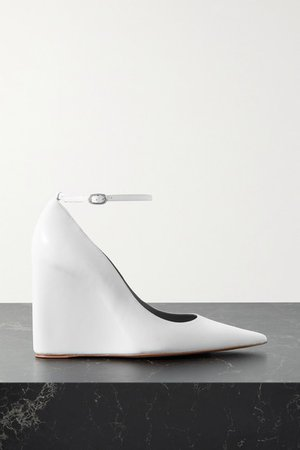 Pernille Leather Wedge Pumps - White