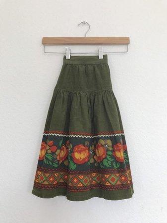 Vintage. 70s corduroy folk skirt | Etsy