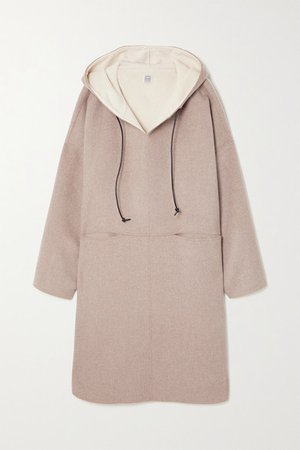 Hooded Wool And Cashmere-blend Coat - Beige